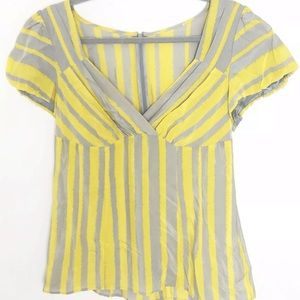 Nanette Lepore Silk Grey and Yellow Stripe Blouse
